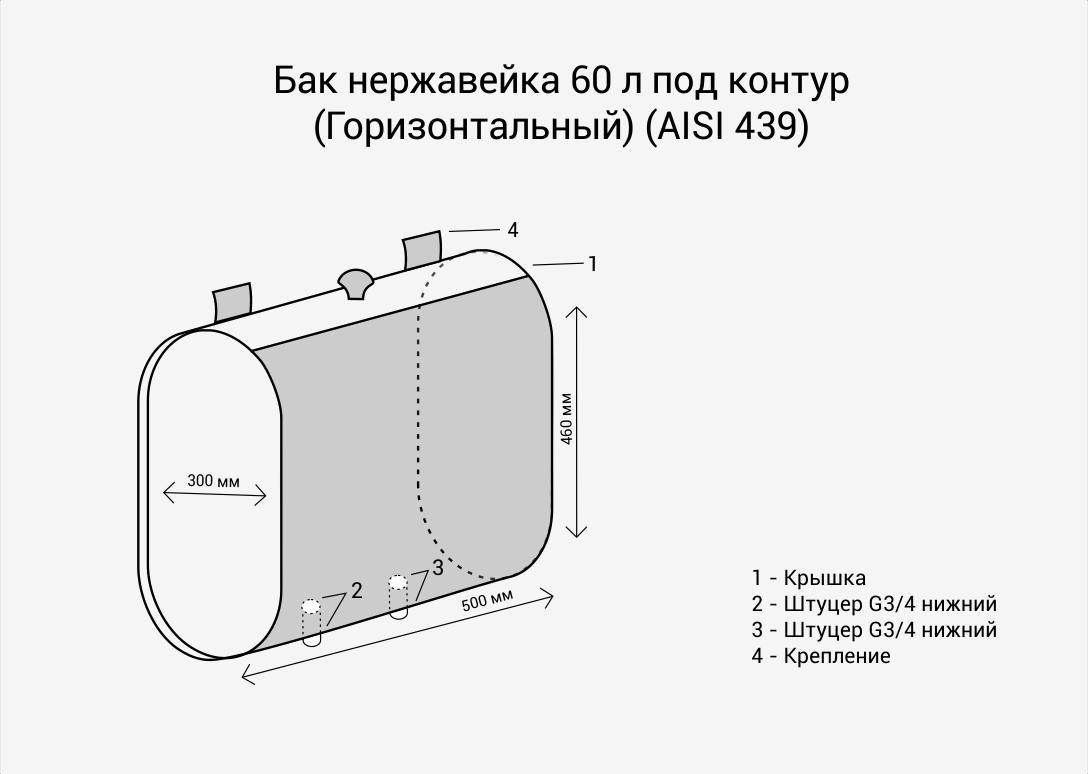 Бак нерж.  60л под контур (Горизонталь) (AISI 439)