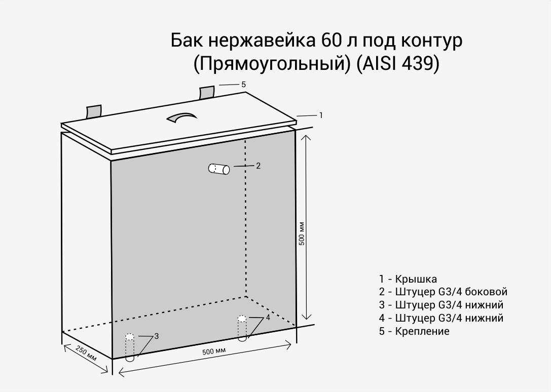 Бак нерж.  60л под контур (Прямоуг) (AISI 439)