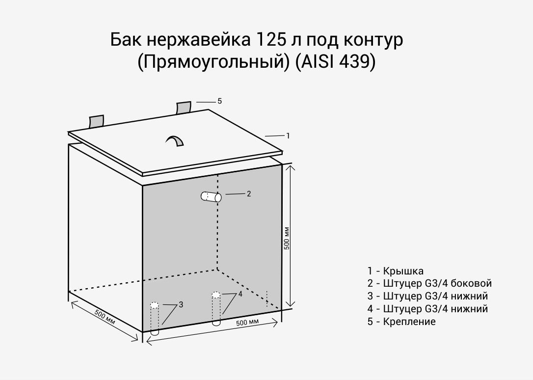 Бак нерж. 125л (Квадратный) + ТЭН (комплект) (AISI 439)