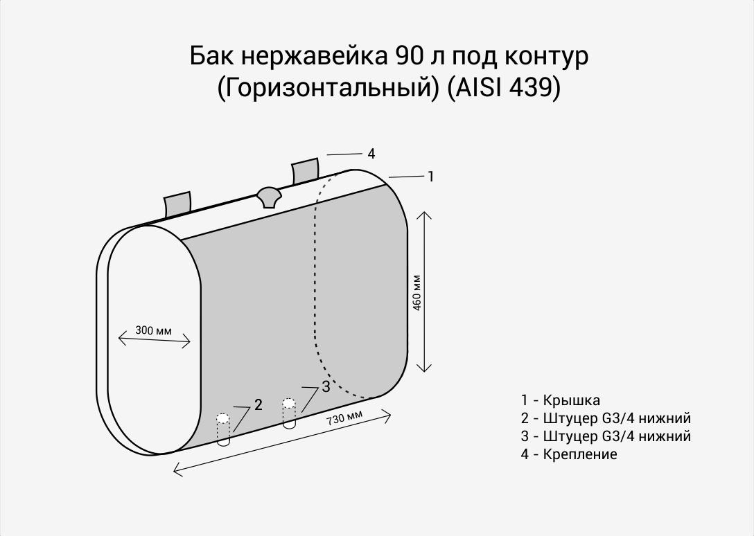 Бак нерж.  90л под контур (Горизонталь) (AISI 439)