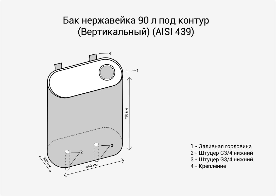 Бак нерж.  90л под контур (Вертикаль) (AISI 439)