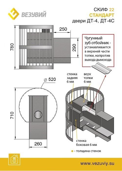 Печь ВЕЗУВИЙ Скиф Стандарт 22 (ДТ-4С)