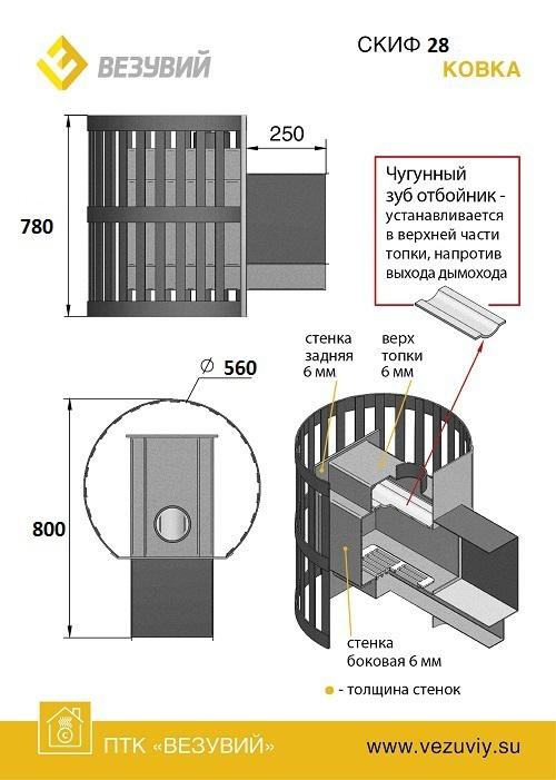 Печь ВЕЗУВИЙ Скиф Ковка 28 (205)