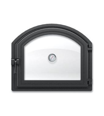 Дверка ВЕЗУВИЙ каминная 217 с термометром (Антрацит)