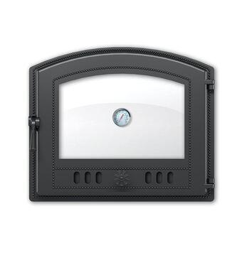 Дверка ВЕЗУВИЙ каминная 224 с термометром (Антрацит)