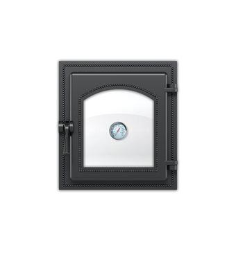 Дверка ВЕЗУВИЙ каминная 270 с термометром (Антрацит)